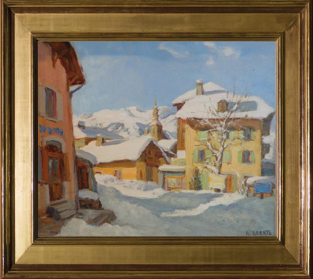 Ange Abrate | Village de Combloux. Huile sur panneau. Dim : 41cm x 33,5cm