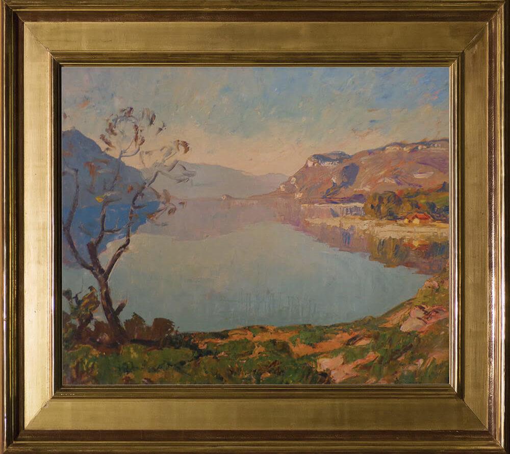 Joseph Victor Communal (1876-1962) | Le lac du Bourget. Huile sur panneau. Dim : 61cm x 50cm ( Vendu )