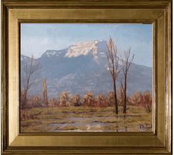 Lucien Quénard ( 1902-1995)Le Mont Granier. Huile sur toile. Dim : 35cm x27cm