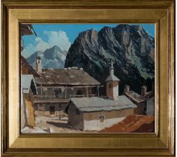 Lucien Poignant (1905-1941)| Village  de la Croix  et de la Chapelle près de Pralognan. Huile sur panneau .Dim : 55cm x 46 cm ( Vendu )