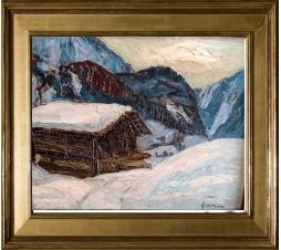 Joseph Victor Communal ( 1876-1962)   Hiver près de Beaufort, février 1923. Huile sur panneau. Dim : 41cm x 32cm
