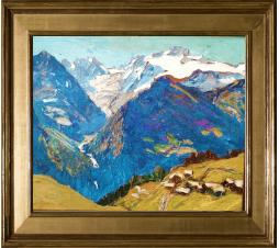Joseph Victor communal (1876-1962)   Le Glacier du Géant,1925. Huile sur carton .Dim: 41cm x 32 cm ( Vendu )