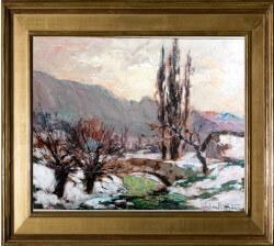 Julien Bouvier (1913-1973)  Pont traversant la Leysse . Huile sur panneau. Dim: 41cm x 32cm