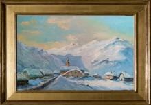 Mario Martin ( 1909-2001)   Le village de Bonneval sur Arc,1968. Huile sur isorel. Dim : 55cm x 38cm ( Vendu )